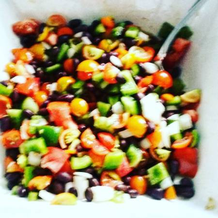 Homemade fresh black bean salsa!! Tomatoes from the garden!