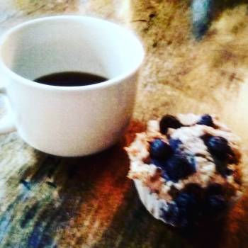 Coffee & homemade gfree blueberry muffins