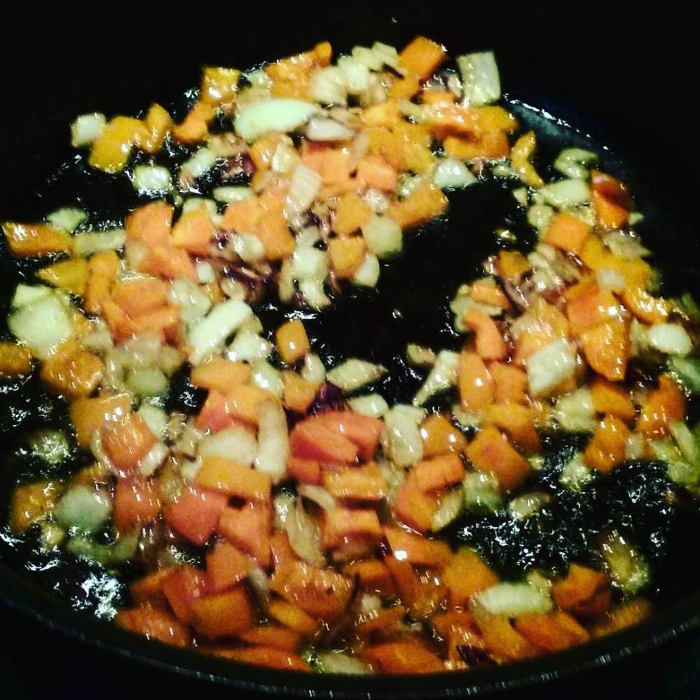 Sautéing orange peppers & onions. So pretty!