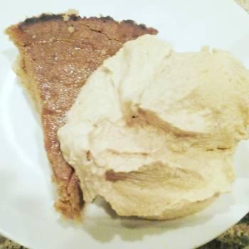 Paul's Early Birthday dessert:Gfree pumpkin pie & homemade pumpkin ice cream!